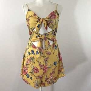 LUSH FLORAL YELLOW DOUBLE TIE ROMPER NWOT